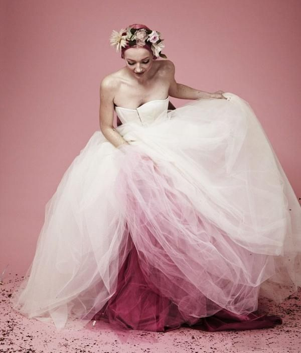 robe de mariée bustier princesse longue en tulle bicolore