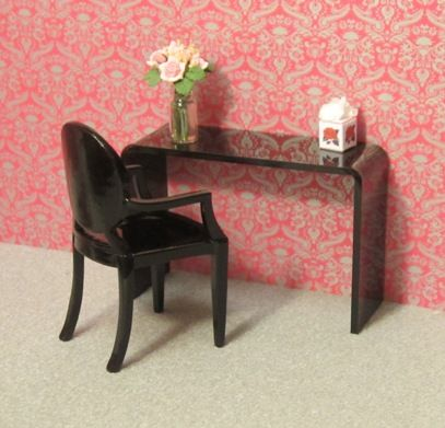 Minimalist dressing table and chair set, black | ELF Miniatures