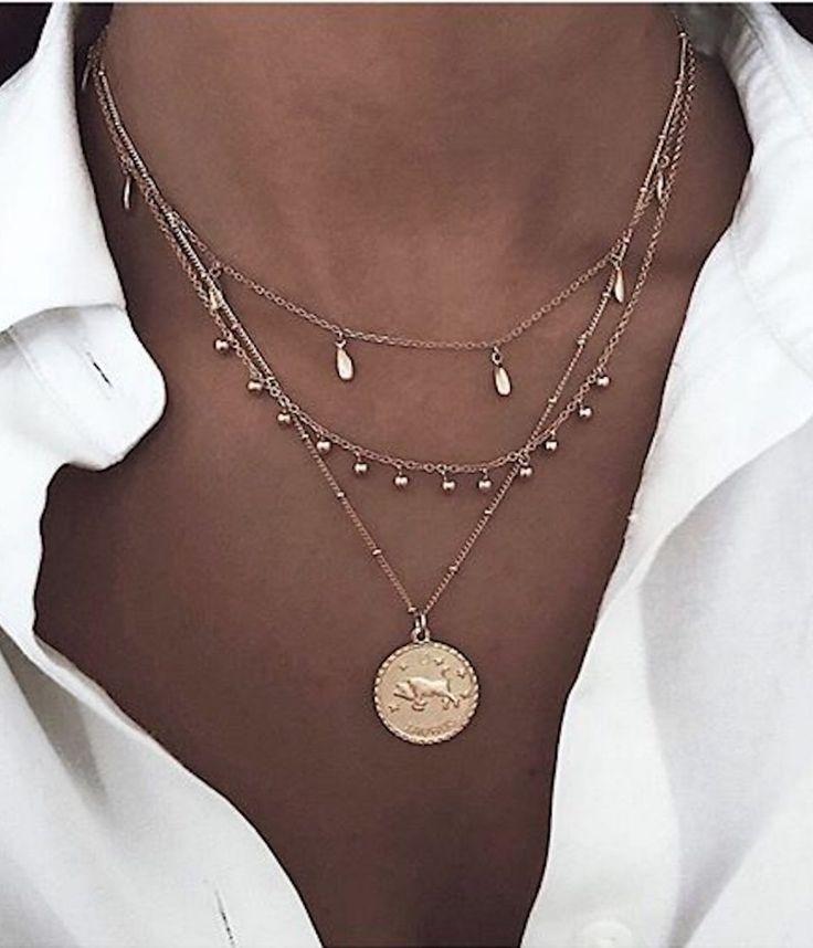Bijoux femme métal or collier LOUYETU #collier #b…