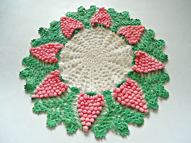 Crocheted Doily Doilys Large Grape Pattern Centerpiece  Doilies G3 by TreasureCoveAlly on Etsy