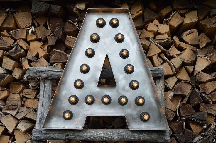 Купить Ретро буква с лампами - буквы для интерьера, буквы на свадьбу, буквы для декора, буквы слампами