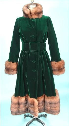 1970's Norell Coat of Deep Emerald Green Velvet & Sable Fur Trim.