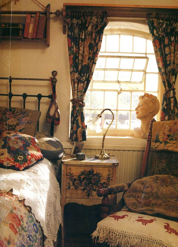 cozy vintage bedroom love the window - Antique Bedroom Decor