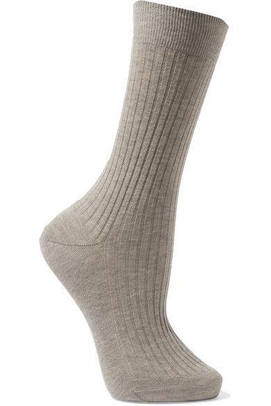 Maria La Rosa - Ribbed Organic Cotton Socks - Gray - medium