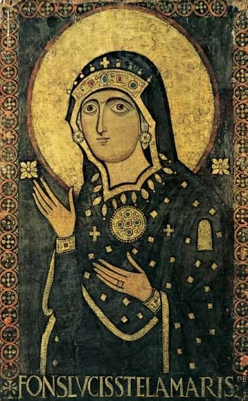 This Byzantine icon of Mary is venerated in the Roman basilica of Santa Maria in Via Lata under the title 'Source of Light, Star of the Sea'.
