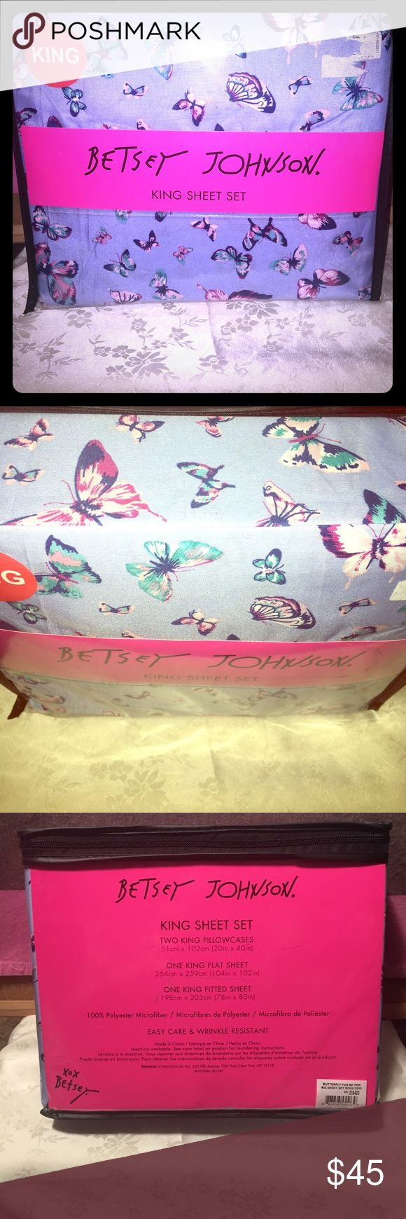 """BETSEY JOHNSON King Size Sheet Set """"Butterflies"""" This item for sale is brand new in the retail bag. BETSEY JOHNSON •KING SIZE SHEET SET• 100% polyester microfiber easy care and wrinkle resistant. 2 King pillowcases (20"""" x 40"""")  one king flat sheet (104"""" x 102"""")  one king fitted sheet (78"""" x 80"""") The style is """"butterfly fun"""" in a dark baby blue color. Betsey Johnson Other"""