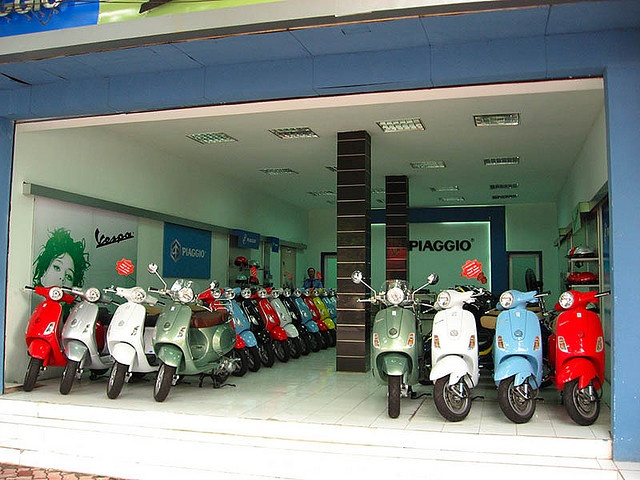 Vespa shop, Hanoi, 2008. My own photo.