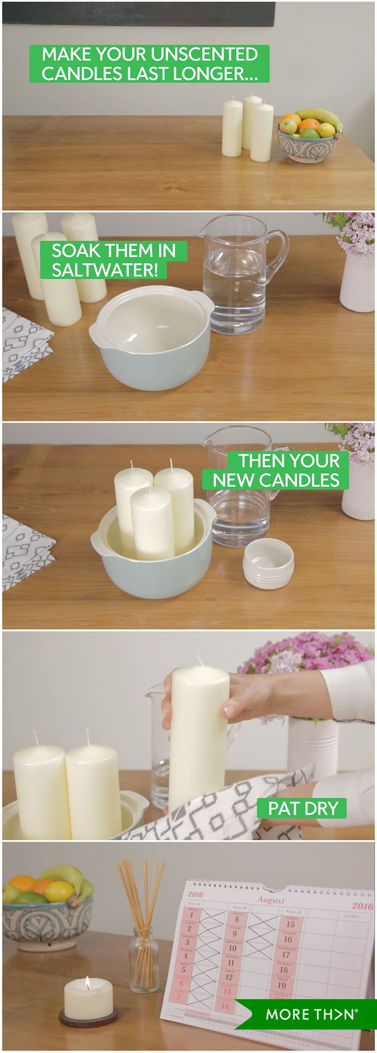 Did you know that there is an easy way to prolong the life of your candles? Just grab a jug of water, some salt and watch this video to learn how! WARNING: this life hack isn't suitable for scented candles.