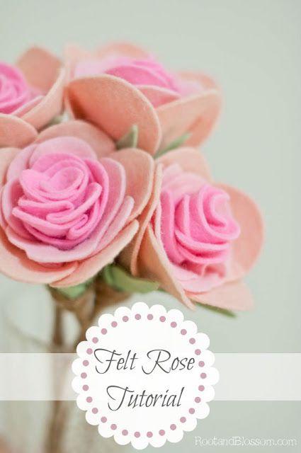 Felt Flower - Rootandblossom: A Felt Rose {On a Stem} Tutorial