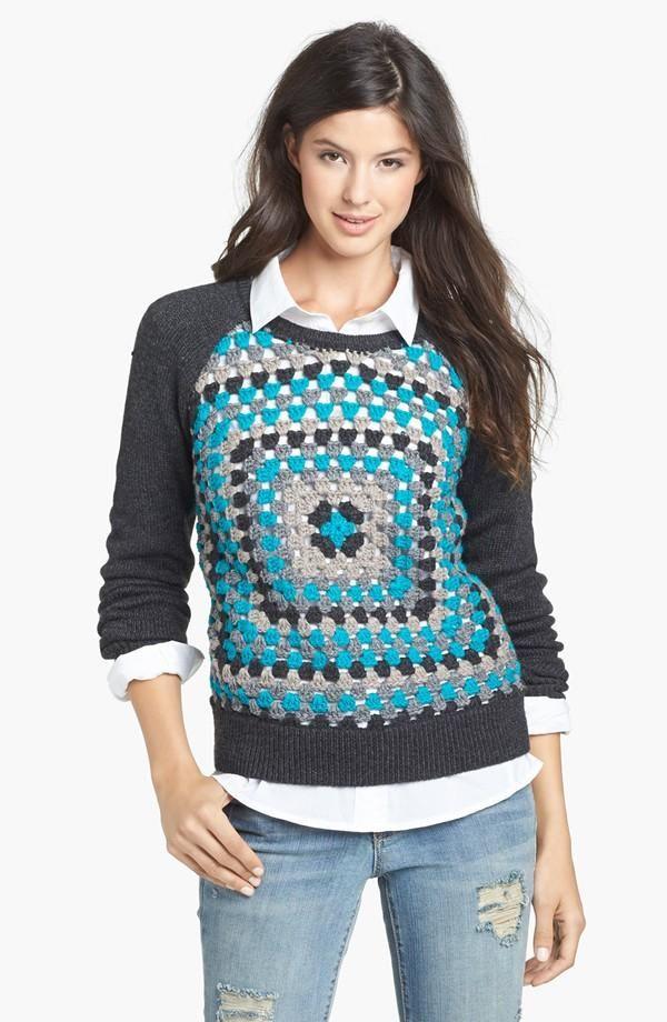 Halogen®Crochet Front Sweater 40% OFF