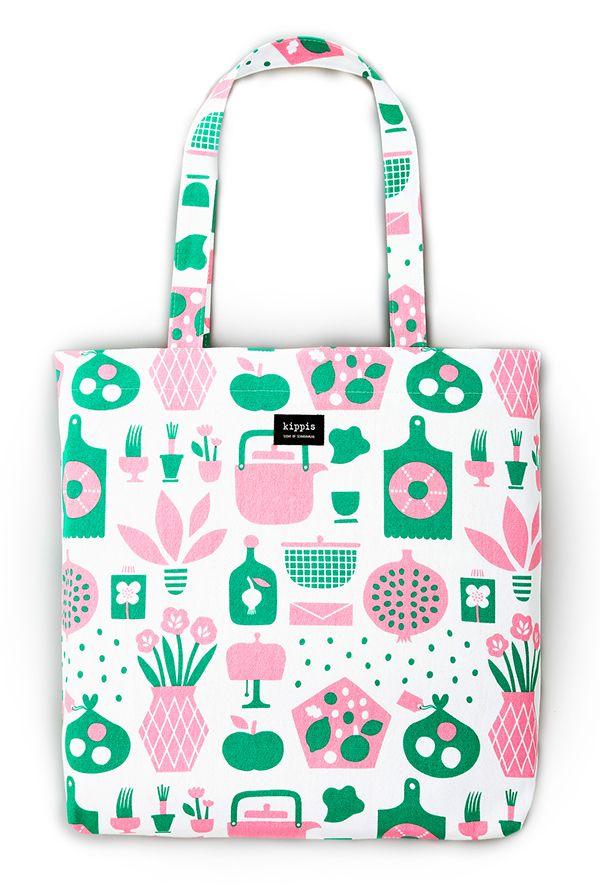 Koti Pattern for Japanese textile brand Kippis #pattern #illustration #totebag