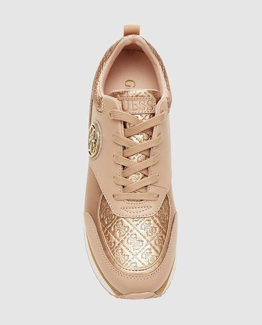 Zapatillas deportivas de mujer Guess color beige con combinación de texturas
