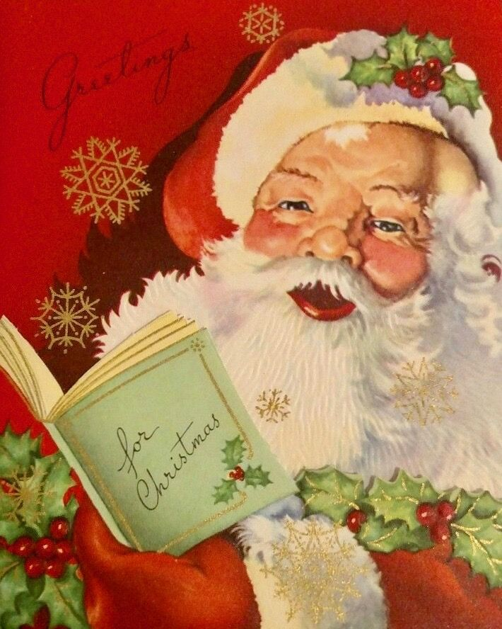#retrochristmas Greetings for Christmas. Vintage Santa.