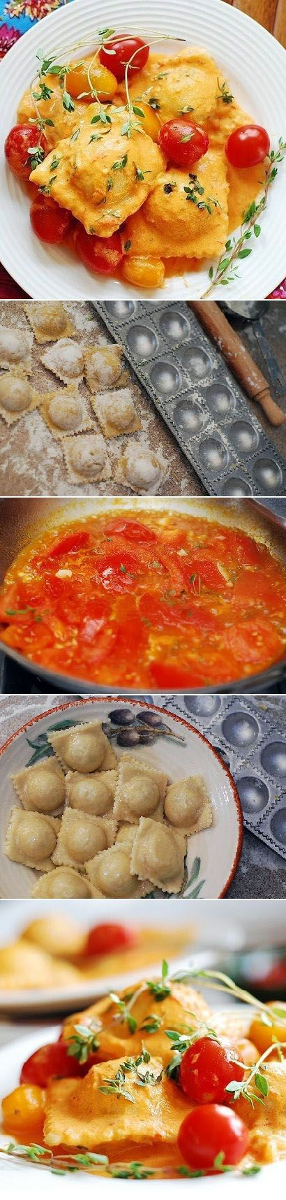 How to make ravioli from scratch, using a ravioli mold  with spinach and ricotta cheese filling, in homemade tomato cream sauce