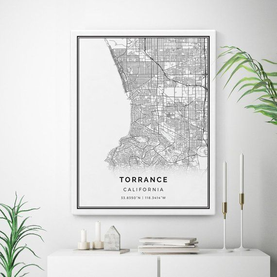 Torrance Map Canvas Print City Maps Wall Art California Gift