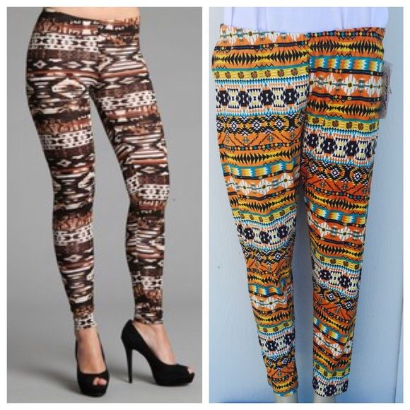 plus size printed leggings Perfect for any season , plus size leggings . Price is firm unless bundled . 95% polyester 5% spandex . Please see last pic for exact color . Pants Leggings