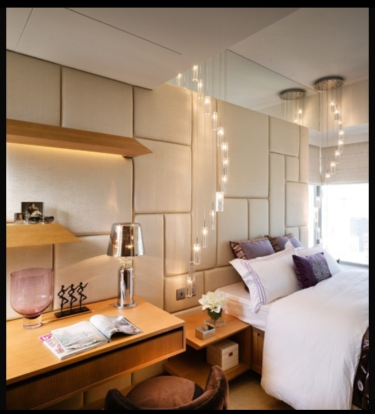 Pendants on either side of the bed - lamp for bedroom