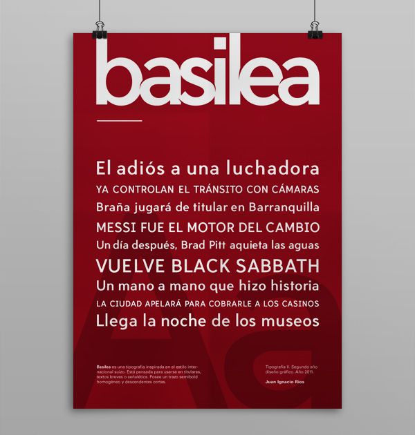 Basilea typeface by Juan Ignacio Rios, via Behance share your travel experience with us! www.thetripmill.com