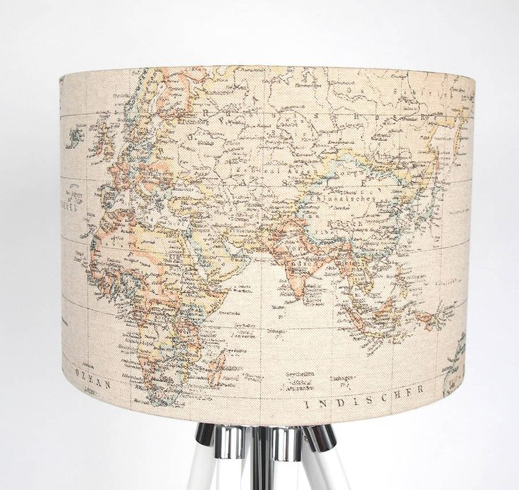 39 best vintage map lampshades images on pinterest vintage cards around the world fabric lampshade medium audiocablefo