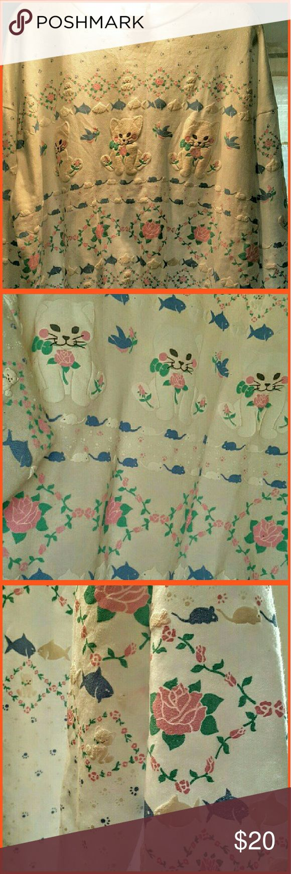 "Ladies ""Unique "" Sweatshirt. Size xlarge Lovely design of kittens..flowers..mice and fish..design on front back and sleeves..no stains..no rips..roomy extra large Tops Sweatshirts & Hoodies"