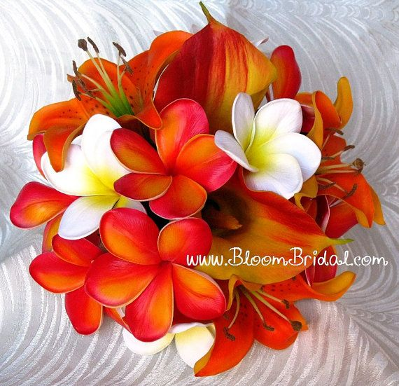Real touch Lilies Calla Lilies & Plumerias by BloomBridalCreations, $137.00 -- abosolutley love this!