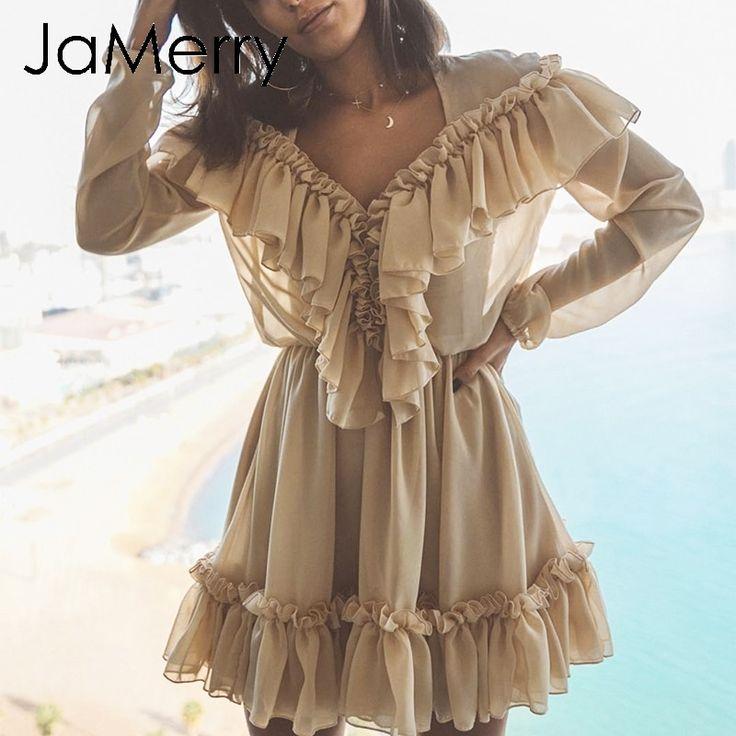 JaMerry Sexy gekräuseltes Damen-Mini-Partykleid Elegantes Langarm-Mesh-Futter kurzes Kleid Hohe Taille Damen Kleider Vestidos
