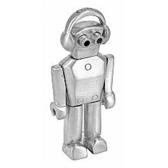 Dezmond Zeal DJ Robot necklace in sterling silver