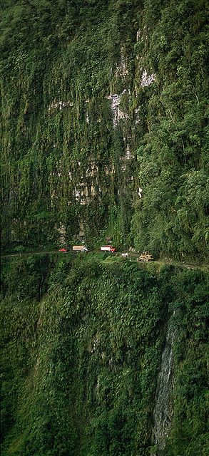 Traffic Jam at the world's most dangerous road from La Paz Bolivia across the Andean Cordillera into the Amazon lowland.