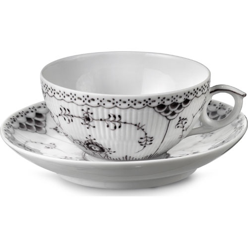 Black Fluted Half Lace Tea Cup and Saucer - Royal Copenhagen