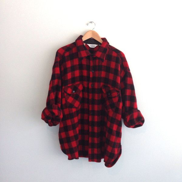 70s vintage Woolrich Buffalo plaid flannel shirt hunting Jacket ($45) ❤ liked on Polyvore featuring tops, shirts, flannels, jackets, checkered shirt, flannel shirts, vintage crop top, plaid flannel shirt and vintage shirts