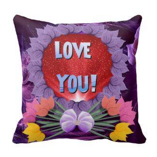 "Beautiful Purple Cushion ""Love You."" Throw Pillow"