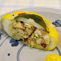 Stuffed Pattypan Squash.  I've been seeing these at the farmers markets but didn't know how to cook it.  Sub out the bread crumbs with maybe grated cauliflower or pureed mushrooms (or both) & it would be really good!