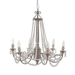 METAL/MDF CEILING LAMP W/6 LIGHTS IN GREY-WHITE COLOR 63X63X66