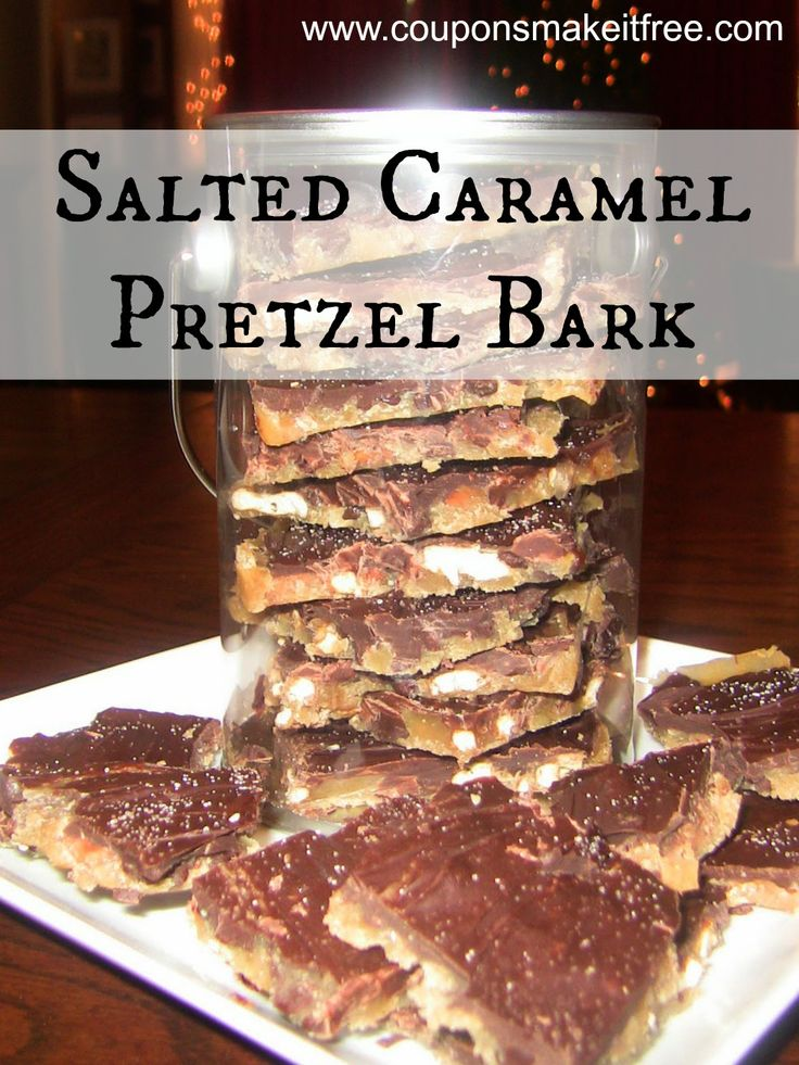 "Salted Caramel Pretzel Bark. One pinner says ""This stuff is amazing...I made it for a Christmas party and everyone wanted the recipe!"""