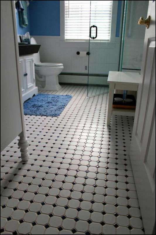 Classic Black And White Bathroom Floor Tile Modern Home