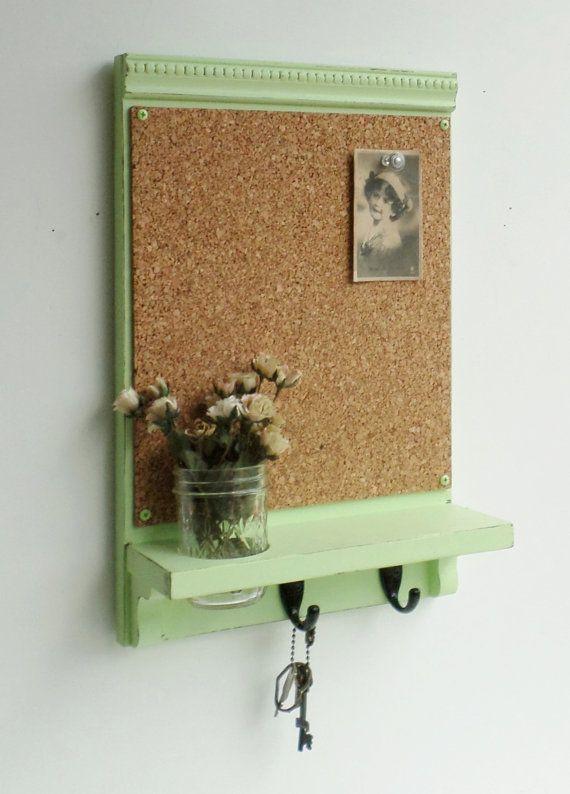 Spring Green...Cork Board ...Key Hooks...Organizer..Mason Jar Shelf...Made to Order on Etsy, $44.95