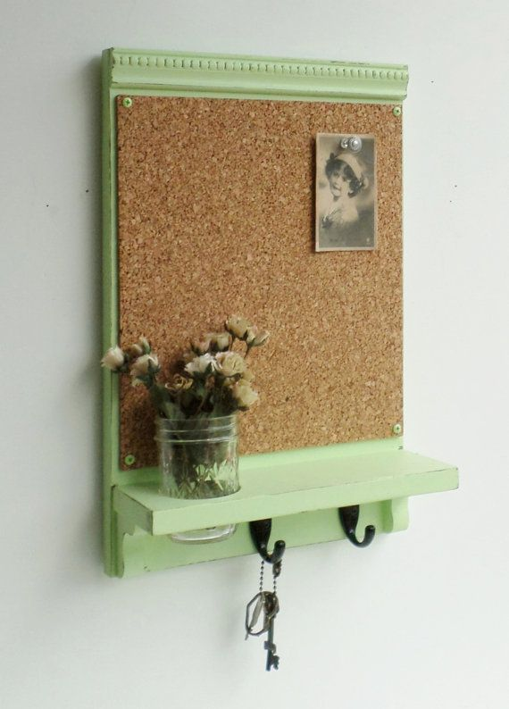 Spring Green...Cork Board ...Key Hooks...Organizer..Mason Jar Shelf...Made to Order on Etsy, $44.95