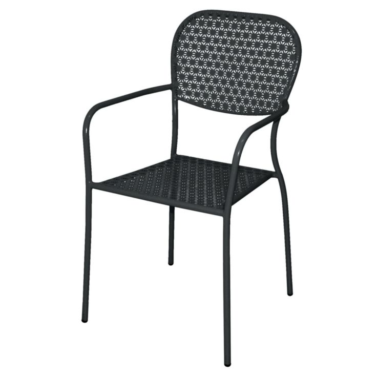 Bolero Steel Patterned Bistro Armchairs Black (Pack of 4) - GG672 - Buy Online at Nisbets