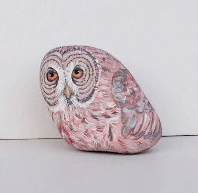 Hand Painted Stone Owl. River Rock Paperweight Home Decor Painting. Feather Bird Collectible. Hand Made. Folk Painting. 3D Pet. by LadyBugCo on Etsy https://www.etsy.com/listing/106291388/hand-painted-stone-owl-river-rock