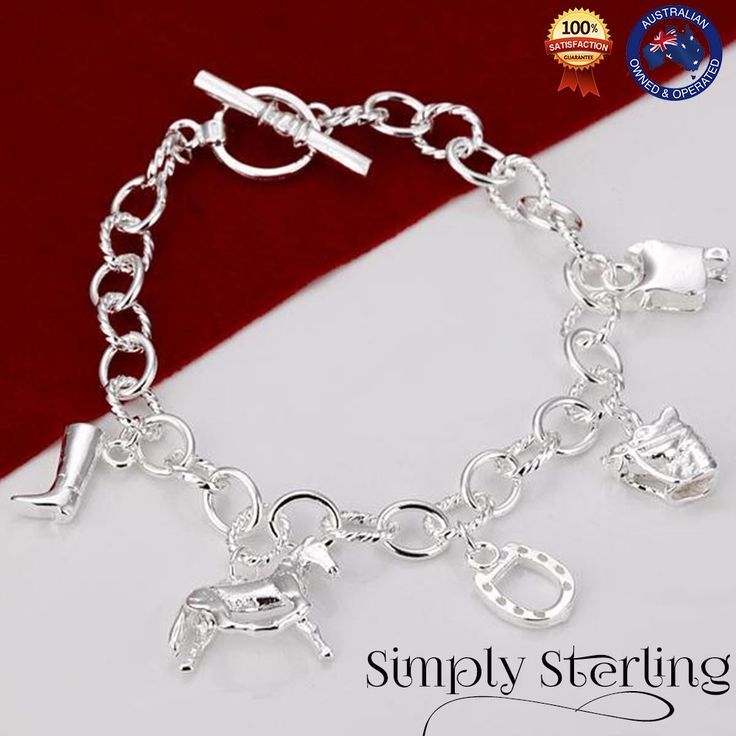 925 STERLING SILVER PLATED HORSE SADDLE CHARM BRACELET RIDING GIRL GIFT