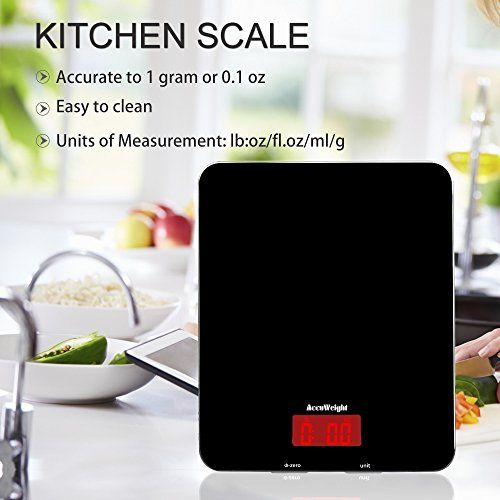 Accuweight Digital Kitchen Cooking Scale, 11lb/5kg, Electronic Tempered Glass Kitchen Food Scale, Weighing Scales with Larger Platform and Backlit LCD, Slim Design, Black, Batteries Included - Find Price Online Shopping