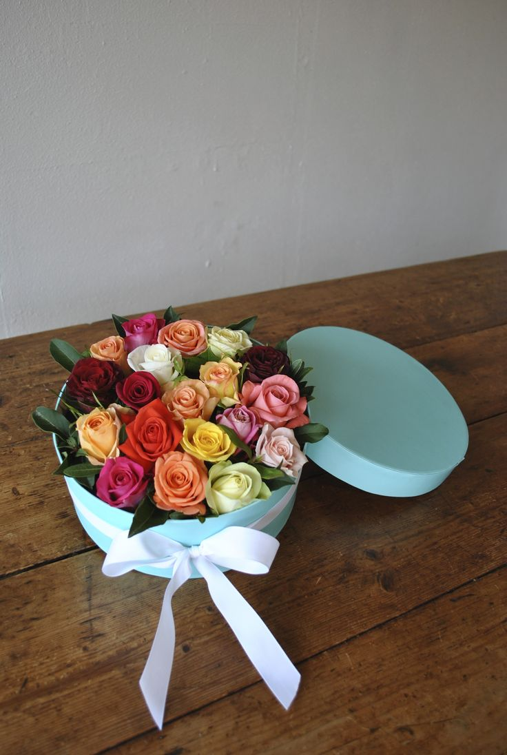 Pretty Roses in Tiffany Blue Box by white tree floral design