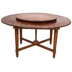 distinct rustic round dining table with builtin lazy susan