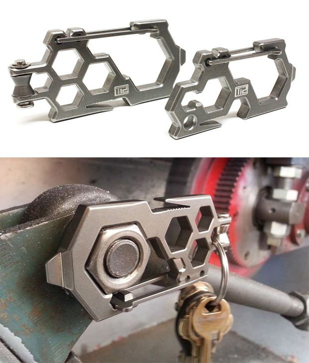 These titanium multi-tool keychains are designed to work with paracord, offering pulley, cinch, & cleat functions