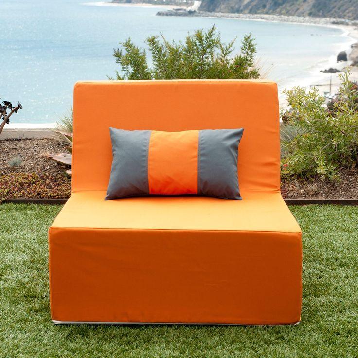 Softblock Lowboy Orange Indoor/ Outdoor Armless Chair (Lowboy Orange Chair), Grey, Patio Furniture (Fabric)