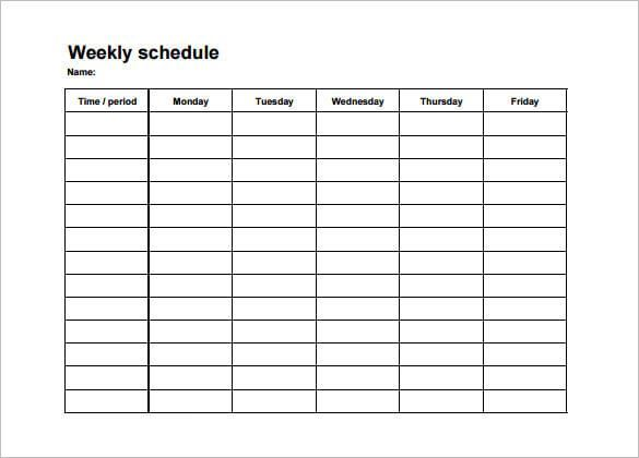 College Class Schedule Template Lovely Free Weekly Schedule