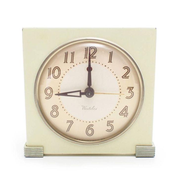 Vintage Art Deco Westclox Metal Bedside Alarm Clock #vintage #midcentury #bedroom #decor #clock #1940s #metal #westclox #etsy #working #alarm