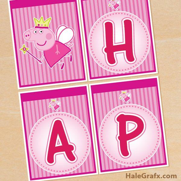 peppa pig banner FREE Printable Princess Peppa Pig Birthday Banner