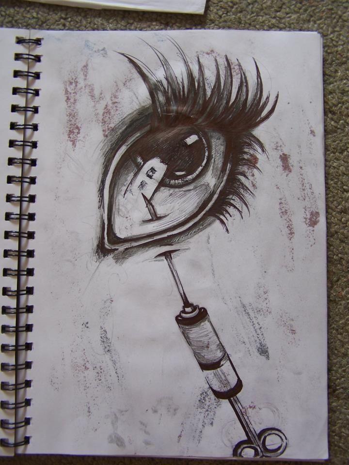 Needle in eye drawing. Ballpoint pen. #horror