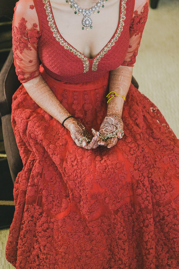 sabyasachi red lengha detailing embroidery